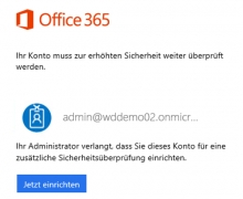 Multi-Faktor Authentifizierung für Office365